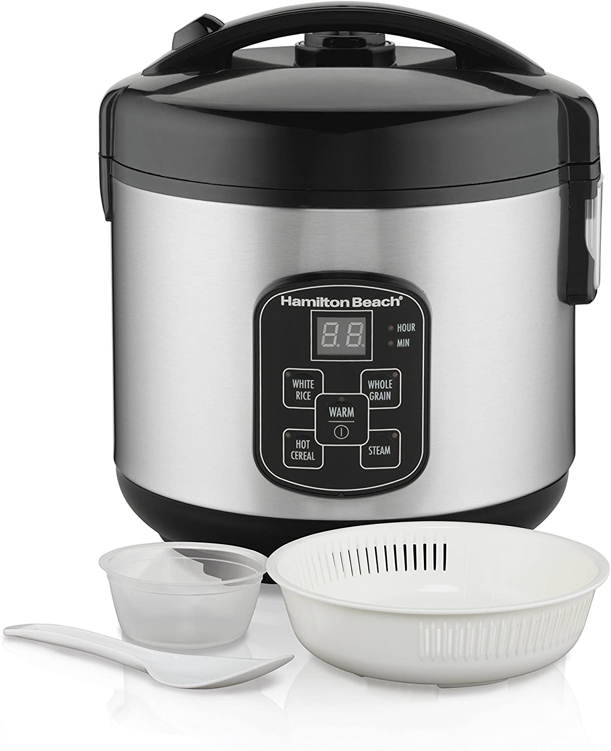 Hamilton Beach Digital Programmable Rice Cooker & Food Steamer, 8 Cups Cooked (4 Uncooked), With Steam & Rinse Basket, Stainless Steel (37518)