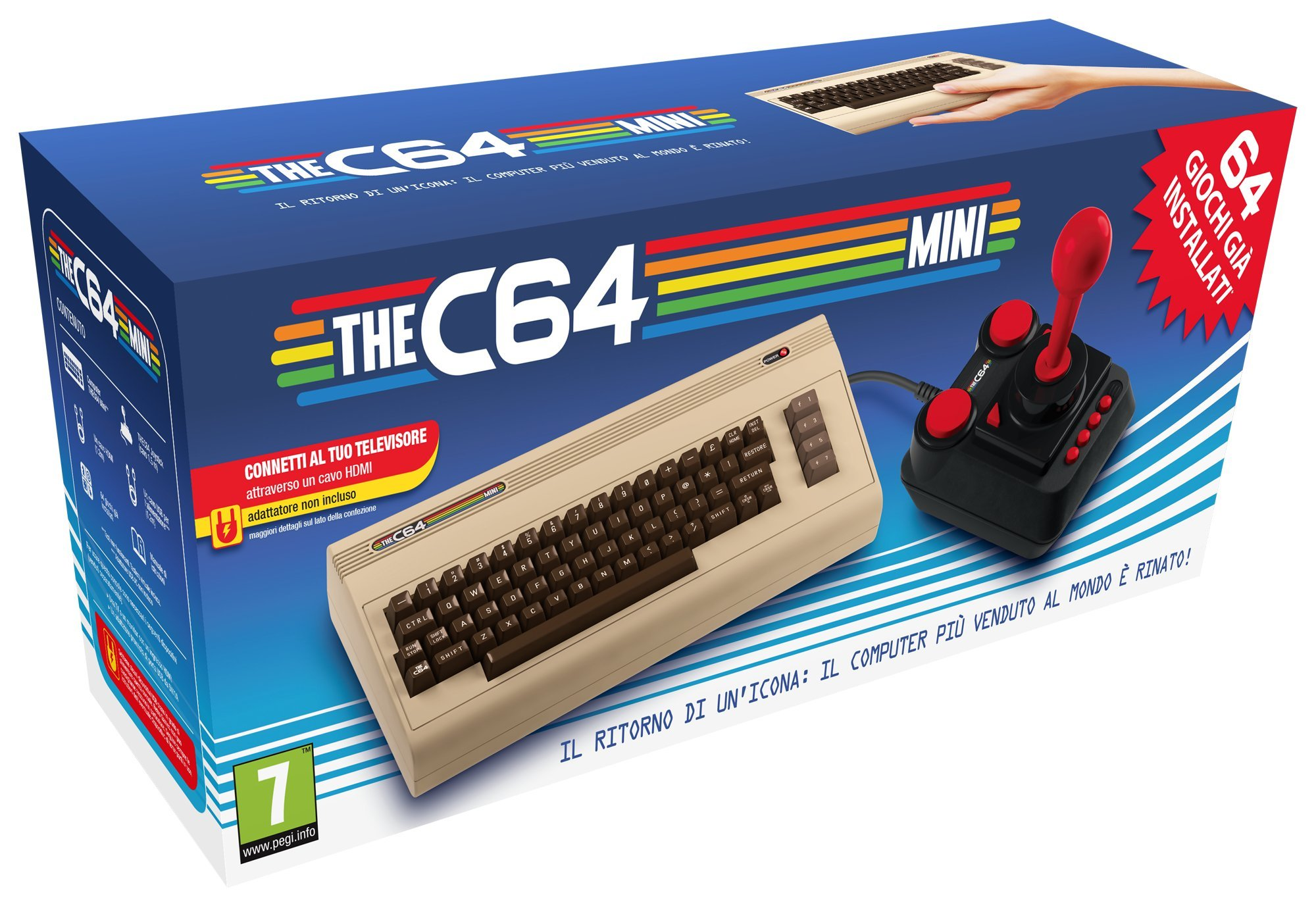 The C64 Mini Console Videogames Deep Silver (EU IMPORT) + 1 Joystick + 64 Games Pre-Installed by Retro Games Ltd (Image #1)