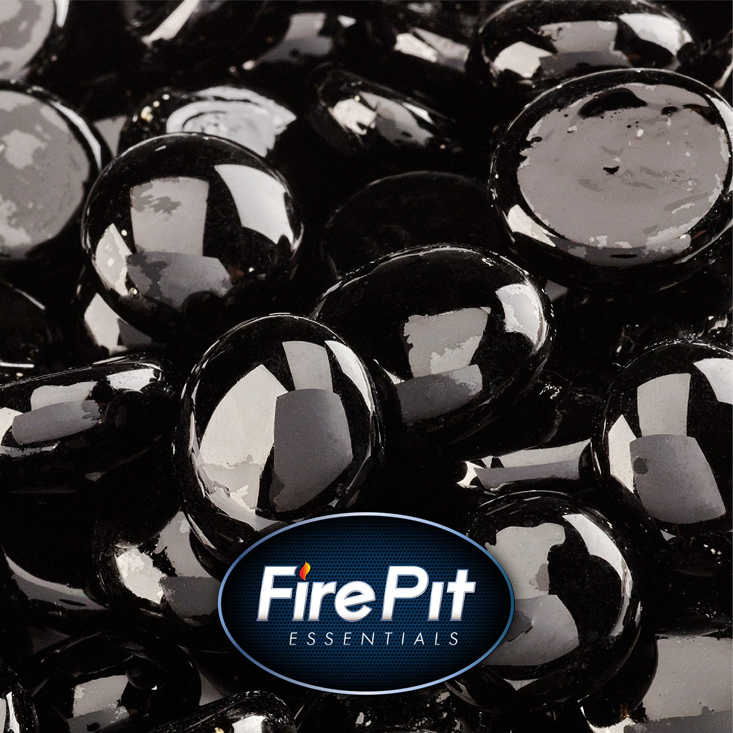 1/2'' Fire Glass Beads for Indoor or Outdoor Fire Pits or Fireplace (Black Sable)