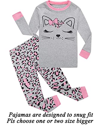 b7242ba085 Dolphin Fish Girls Pajamas Cat Little Kids Pjs 100% Cotton Toddler Clothes Children  Sleepwear 24M