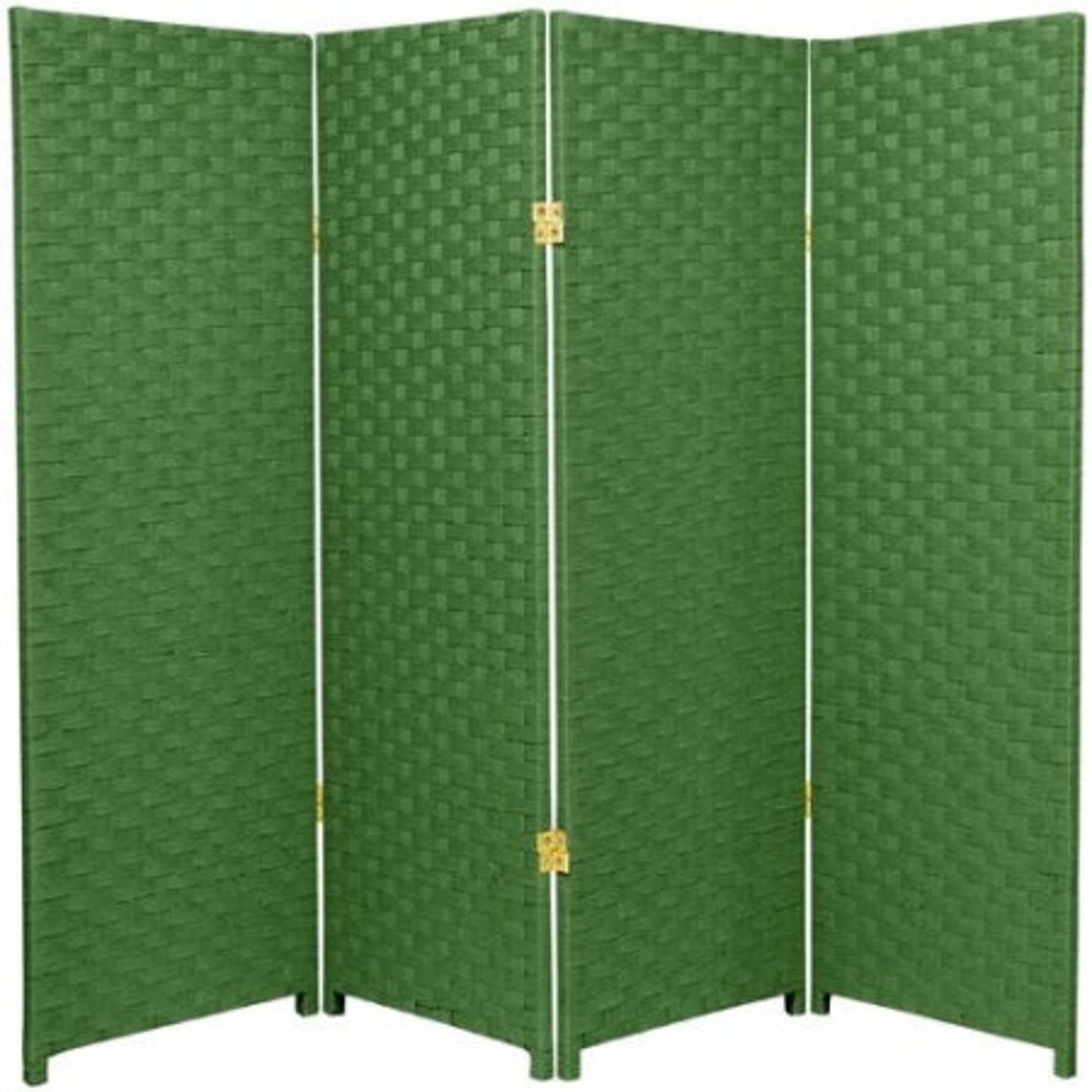 Natural Plant Fiber Woven Room Decor Light Green 4 Panels Divider