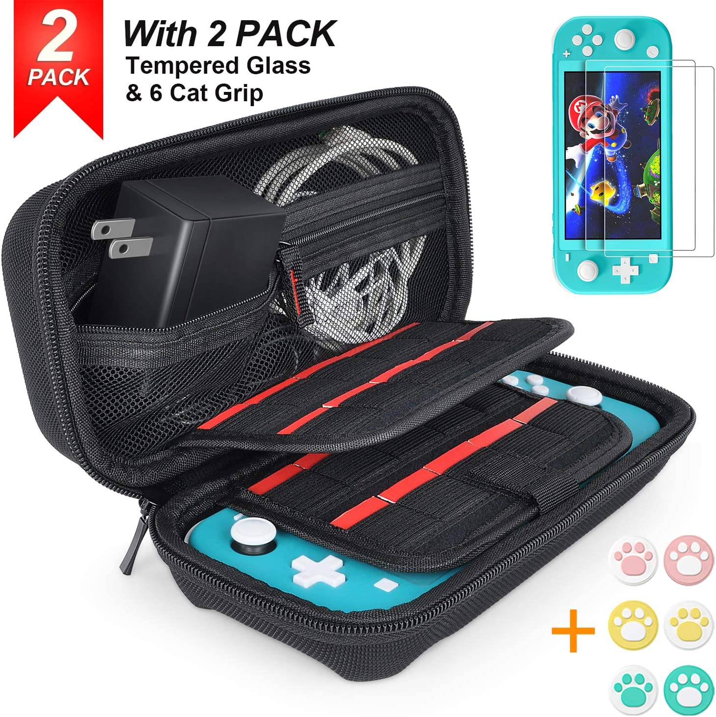 Hestia Goods for Nintendo Switch Lite Case with 2 Pack Screen Protector & 6 Pcs Thumb Grip, 20 Game Cartridges Hard Shell Travel Carrying Switch Lite Pouch Case Console & Accessories, Black