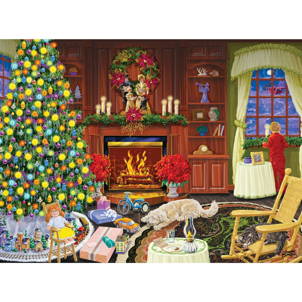 Bits and Pieces - 1000 Piece Glow in the Dark Puzzle for Adults - Christmas Eve - Holiday Home Celebration - by Artist Joseph Burgess - 1000 pc Jigsaw