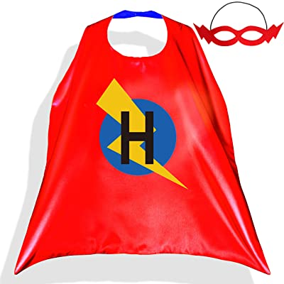 PROLOSO Superhero Capes for Kids with Felt Masks Super Hero Flash Costume Cartoon Dress Up Pretend Play Outfit 26 Letters (H) red: Clothing