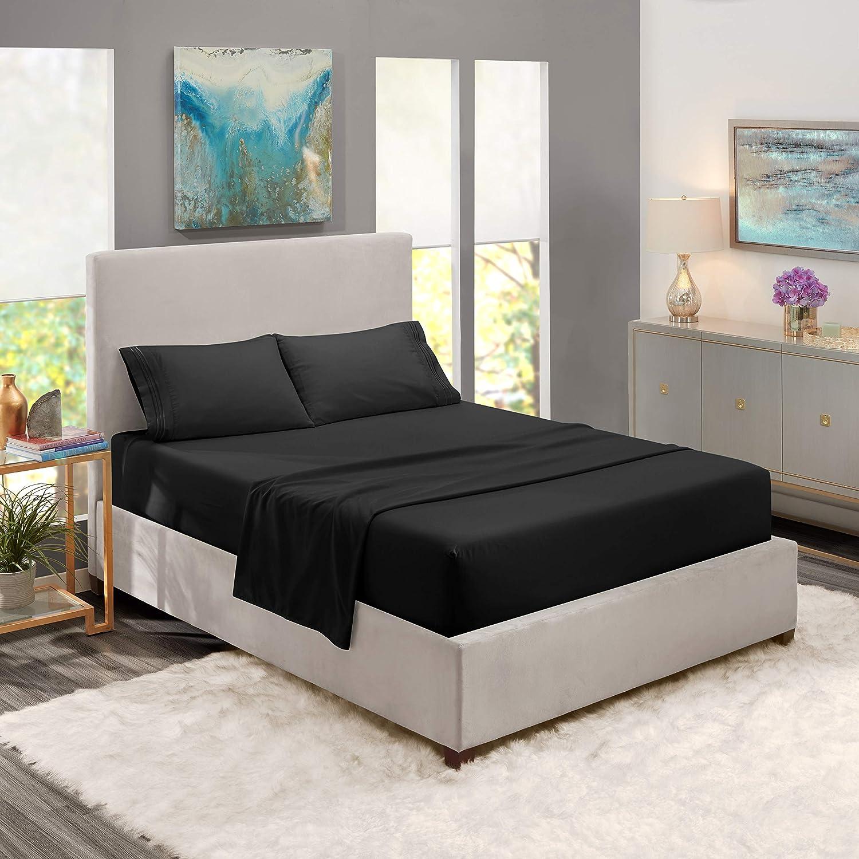 Full Sheets - Bed Sheets Full Size – Deep Pocket Hotel Sheets – Cool Sheets - Luxury 1800 Sheets Hotel Bedding Microfiber Sheets - Soft Sheets – Full - Black