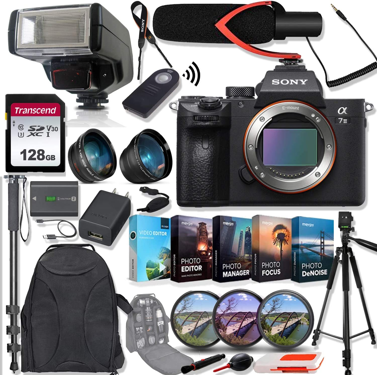Sony Alpha a7 III Mirrorless Digital Camera (Body Only) ILCE7M3/B Bundle with Telephoto and Wide-Angle Lens Set, 128GB Memory Card, Microphone, TTL Flash, Camera Bag and Accessories