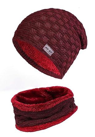 9df5b0e93c31 GG ST - Ensemble Bonnet, écharpe et Gants - Homme - Rouge - Taille Unique