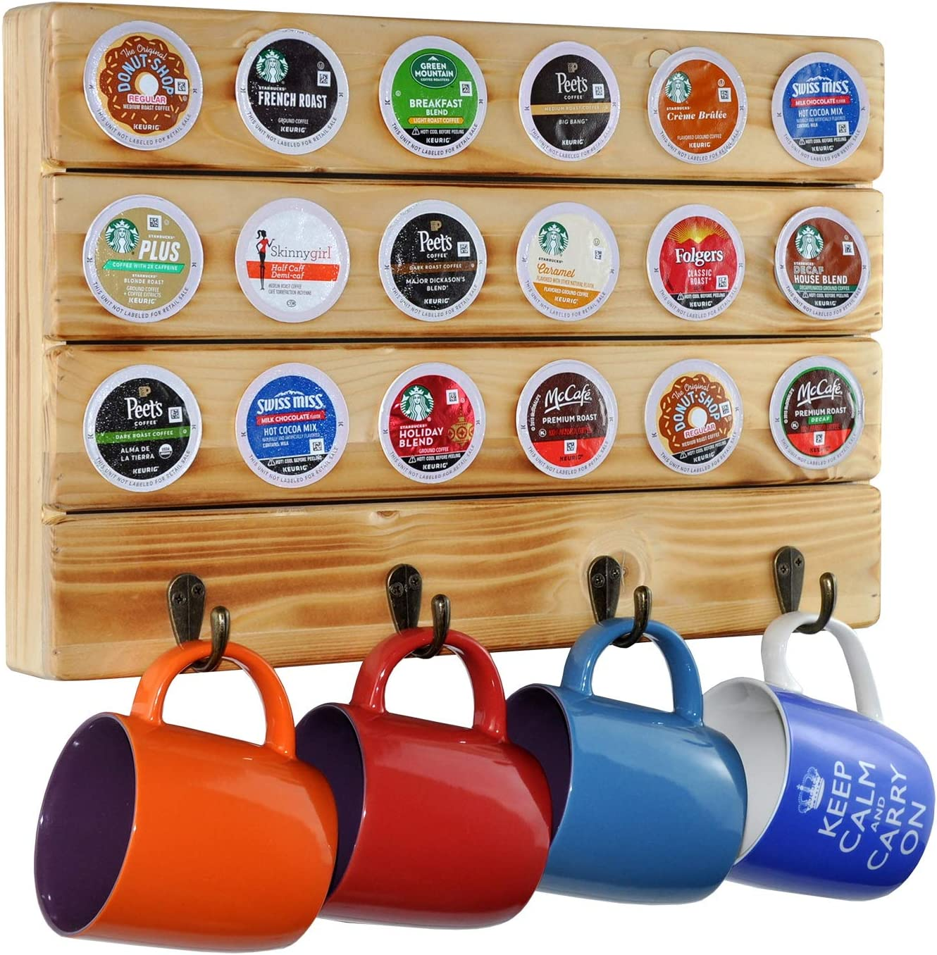 Solid Pine Wood in Torched Natural Beige Wall Mount Mug Holder by Metal Hooks Spiretro Coffee Pod Organizer for K-Cup Pods 18 Capsule Storage and 4 Mugs Hang for Kitchen Dining Coffee Room
