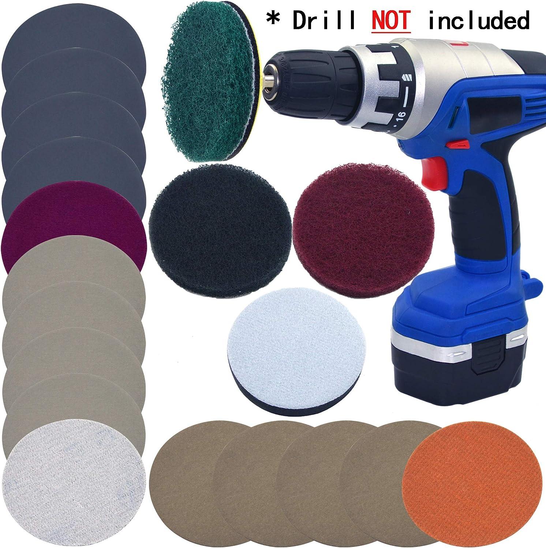 2-Inch Headlight Polishing Scouring Pad Restoration DIY Kit For Electric Drill