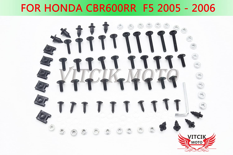VITCIK Kit completo di carenatura viti bulloni per Honda CBR 600 RR F5 2005 2006 CBR 600 RR F5 05 06 Serraggio per moto, clip in alluminio CNC (Nero & Argento)