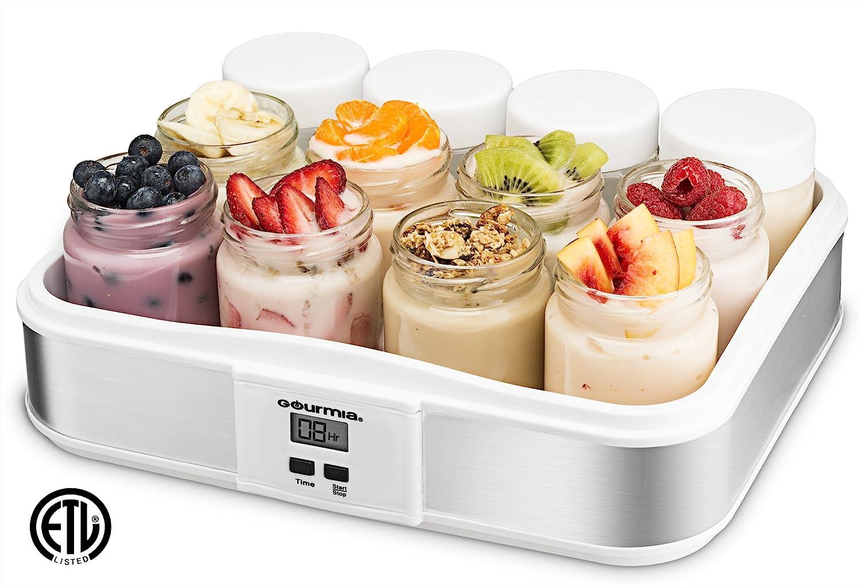 Gourmia GYM1720 Digital Yogurt Maker - 12 Glass Jars - Customize Flavor & Thickness - Free Recipe Book Included