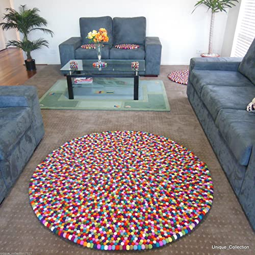 Mimosa 150cm 4 11 Multicolour Felt Ball Rugs – Genuine Nepalese Handmade Area Rugs – Custom Size Rugs are Also Available