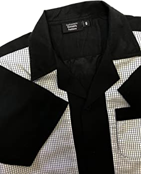 Rockabilly Fashions - Camisa de bolos para hombre, estilo retro, talla S a 3XL, color negro y blanco Negro y blanco. S: Amazon.es: Ropa y accesorios