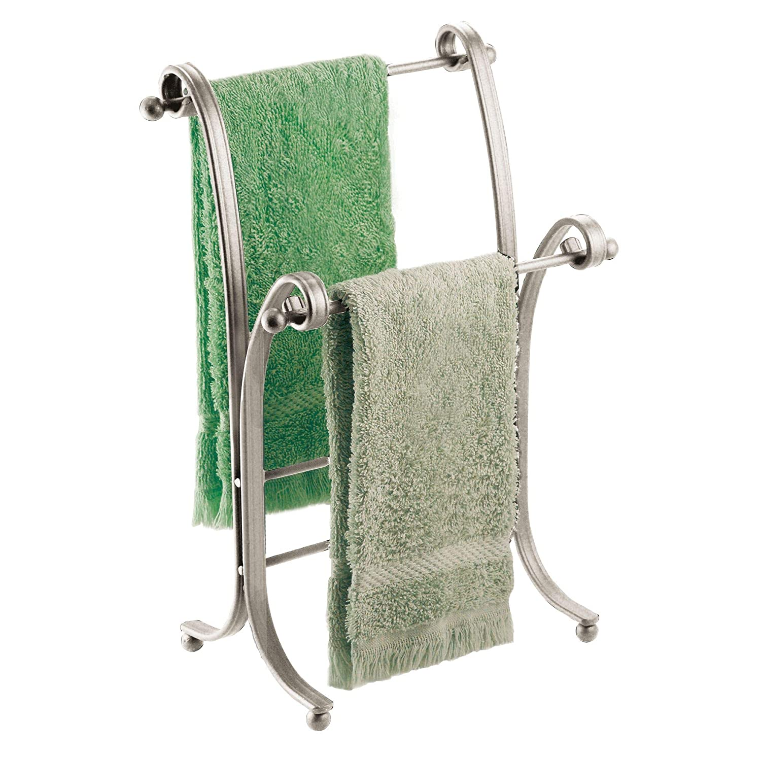 """iDesign York Metal Free-Standing Hand Towel Drying Rack for Master, Guest, Kids' Bathroom, Laundry Room, Kitchen, 6"""" x 9"""" x 13.5"""", Satin Silver"""
