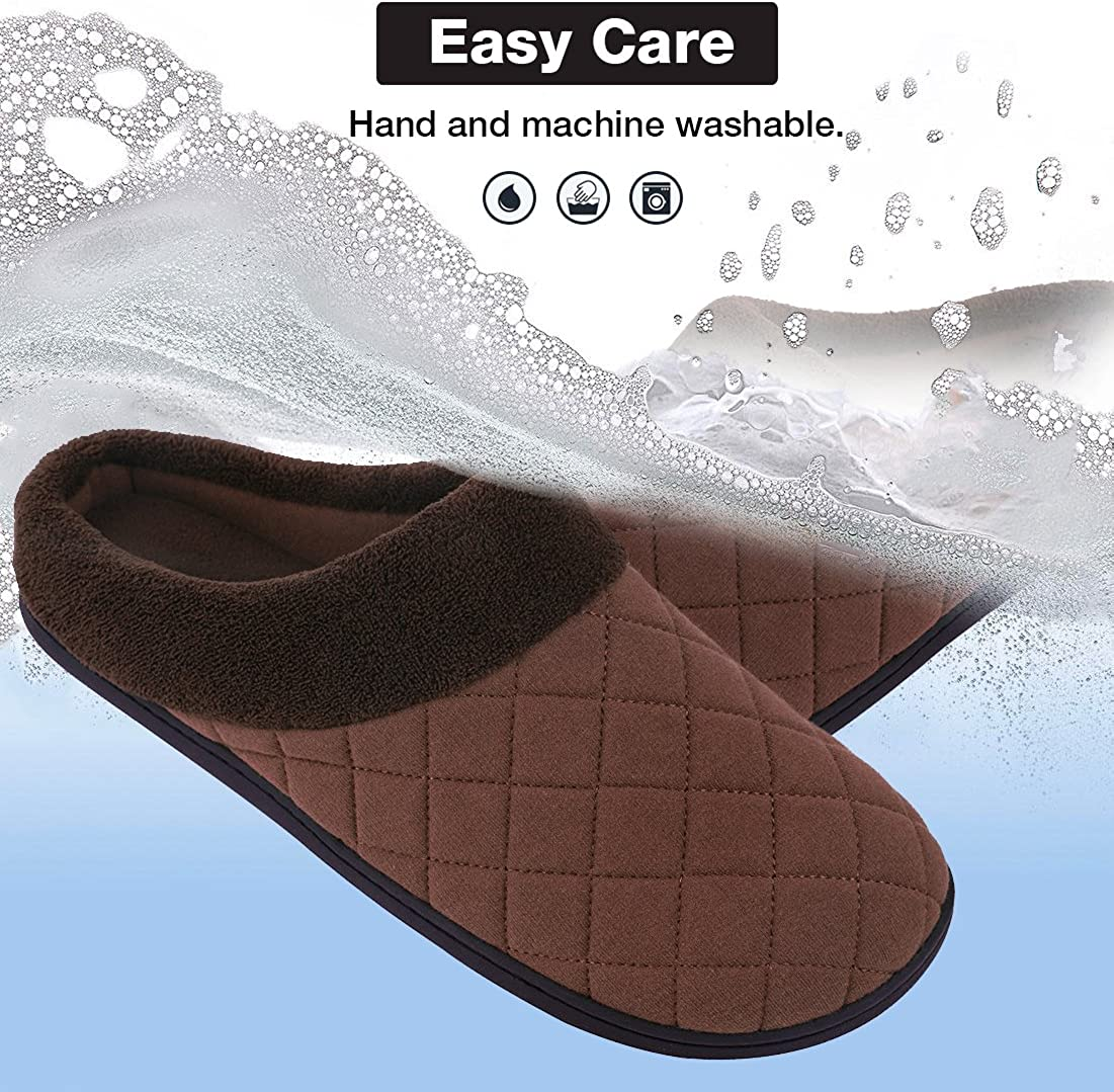 EverFoams Mens Memory Foam House Slippers Summer Quilted House Shoes for Indoor Outdoor Use