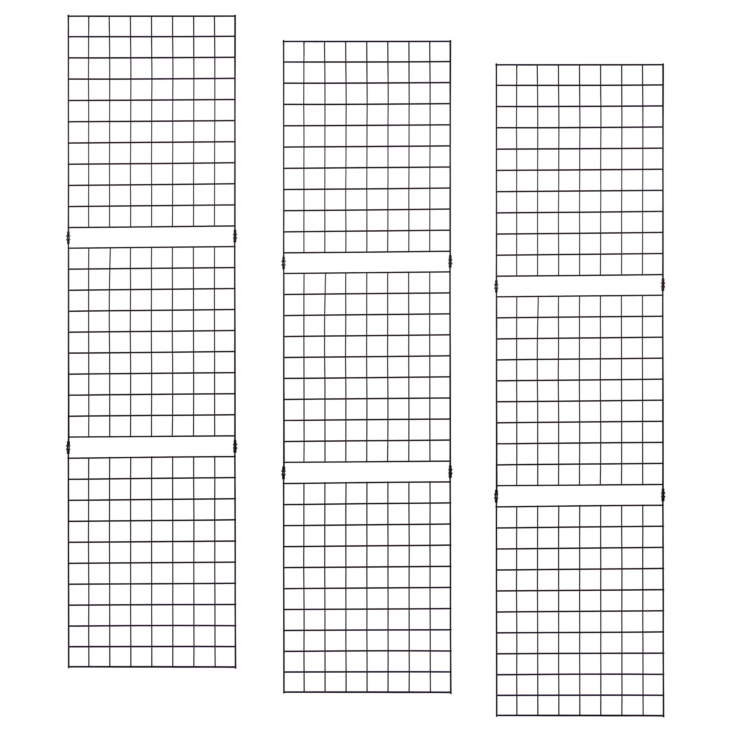 Grid Panels – Econoco Durable Grid Shelves – Portable Fixtures for Art, Retail Display, or Home Storage– 2 ft x 8 ft – Pack of 3 (Black)
