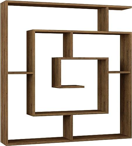 Ada Home Decor Briscoe Modern Dark Brown Bookcase 50.2'' H x 49.2'' W x 8.66'' D/Shelving Unit/Bookshelf