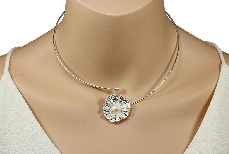 SILBERMOOS Damen Anhänger Halsreif Blüte Blume mit Perle glänzend ...