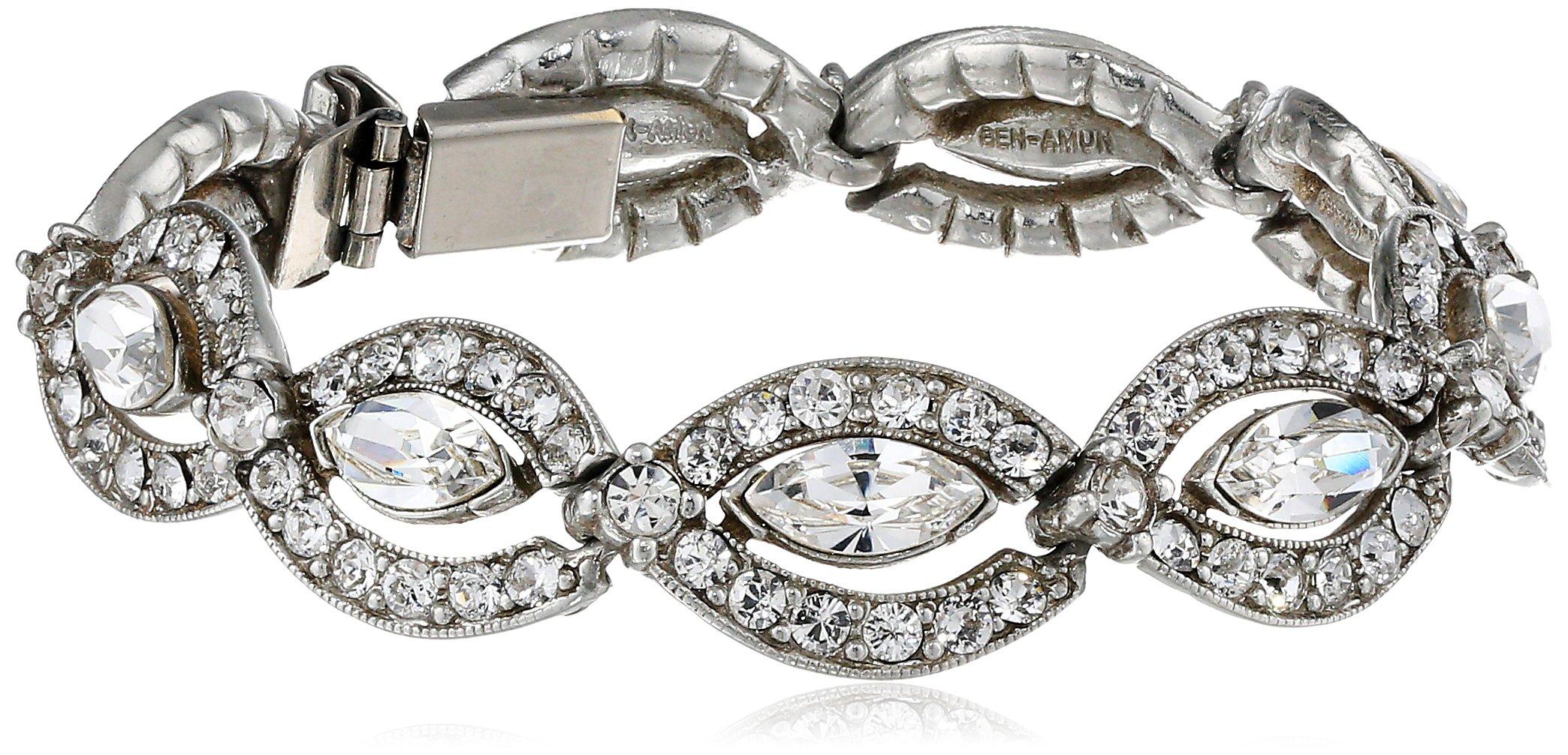 Ben-Amun Jewelry Navette Clear Crystal Bracelet, 6.75''