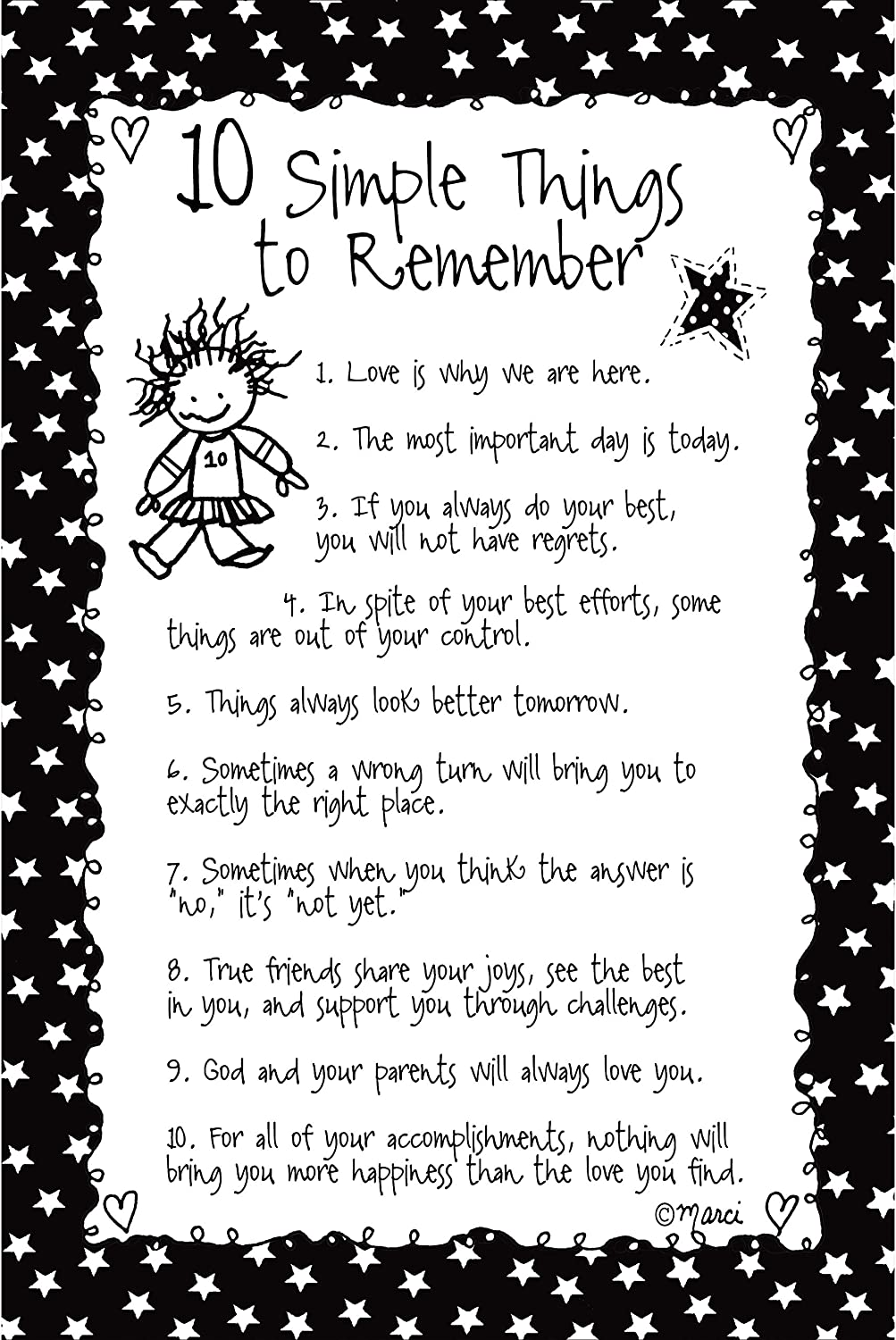 10 Simple Things to Remember Wood Plaque - Children of The Inner Light by Marci | Elegant Vertical Frame Wall Art & Tabletop Decoration | Easel & Hanging Hook | Measures 6 inches x 9 inches