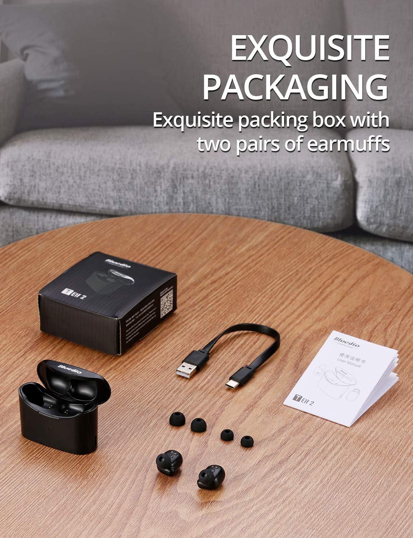 Bluedio Bluetooth Kopfh/örer T Elf 2 Kabellose Kopfh/örer in Ear Sport Kabellose Ohrh/örer Bluetooth 5.0 Headset Wireless Earbuds mit Mikrofon,Touch-Control,HD Stereo Sound,Ladebox,35 Stunden Spielzeit