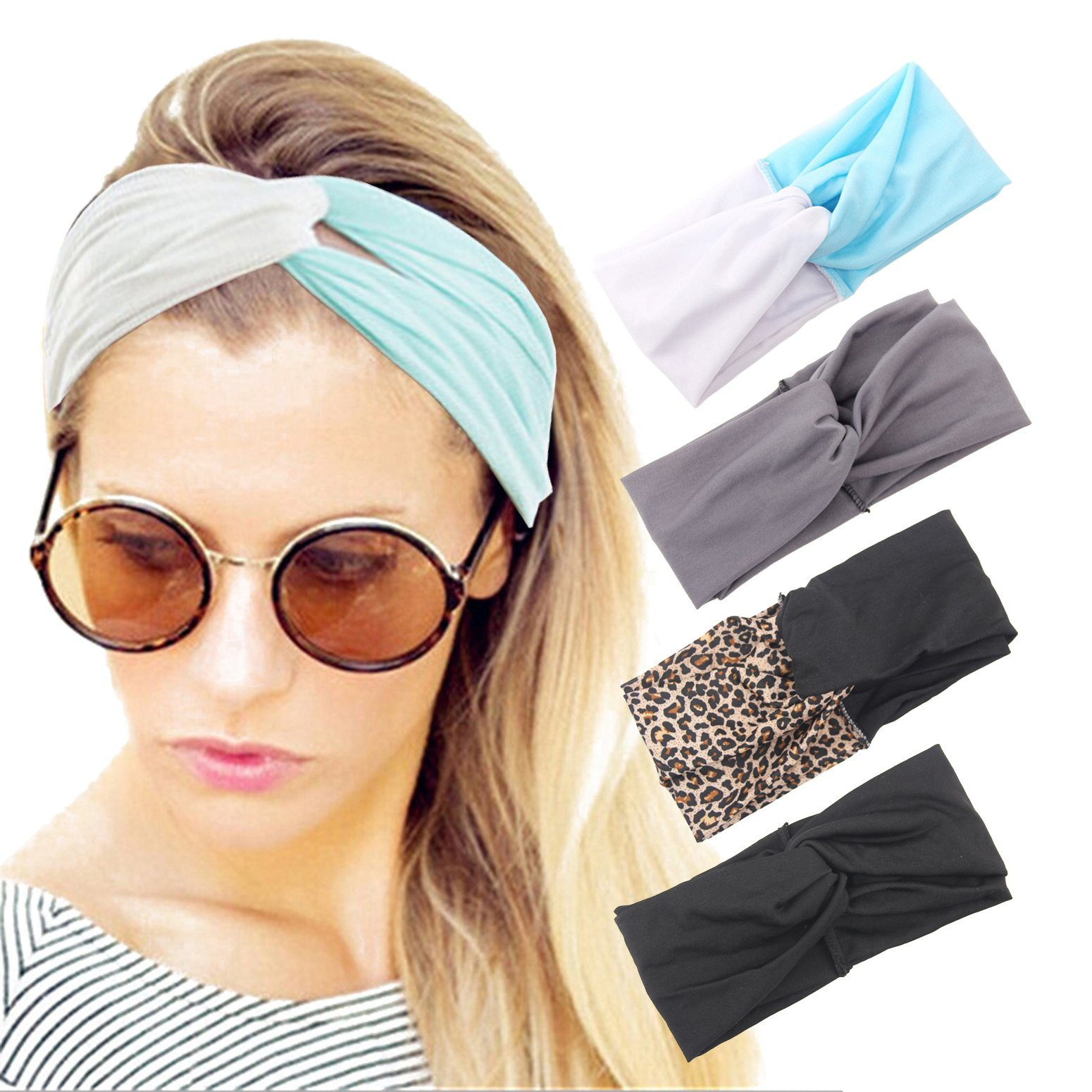 Headband Boho Floal Style Criss Cross Head Wrap Hair Band For Women Girls 4  Pack f925bd44492