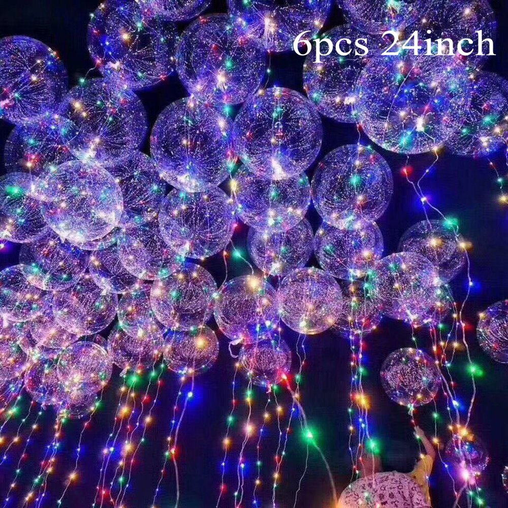 Eanjia 24'' 6pcs Led Bobo Balloon Flashing Lights for Birthday Wedding Christmas Propose Party Decorative ,Fillable with Helium ,Best Night Party Supplies ,InsUsed Repeatedly