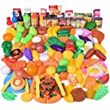 FUN LITTLE TOYS 128 pcs Play Food for Kids, Toy Food Pretend Food Plastic Food, Play Kitchen Accessories for Toddlers