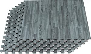 Forest Floor 5/8 Inch Thick Printed Foam Tiles , Premium Wood Grain Interlocking Foam Floor Mats, Anti-Fatigue Flooring, 24 in x 24 in