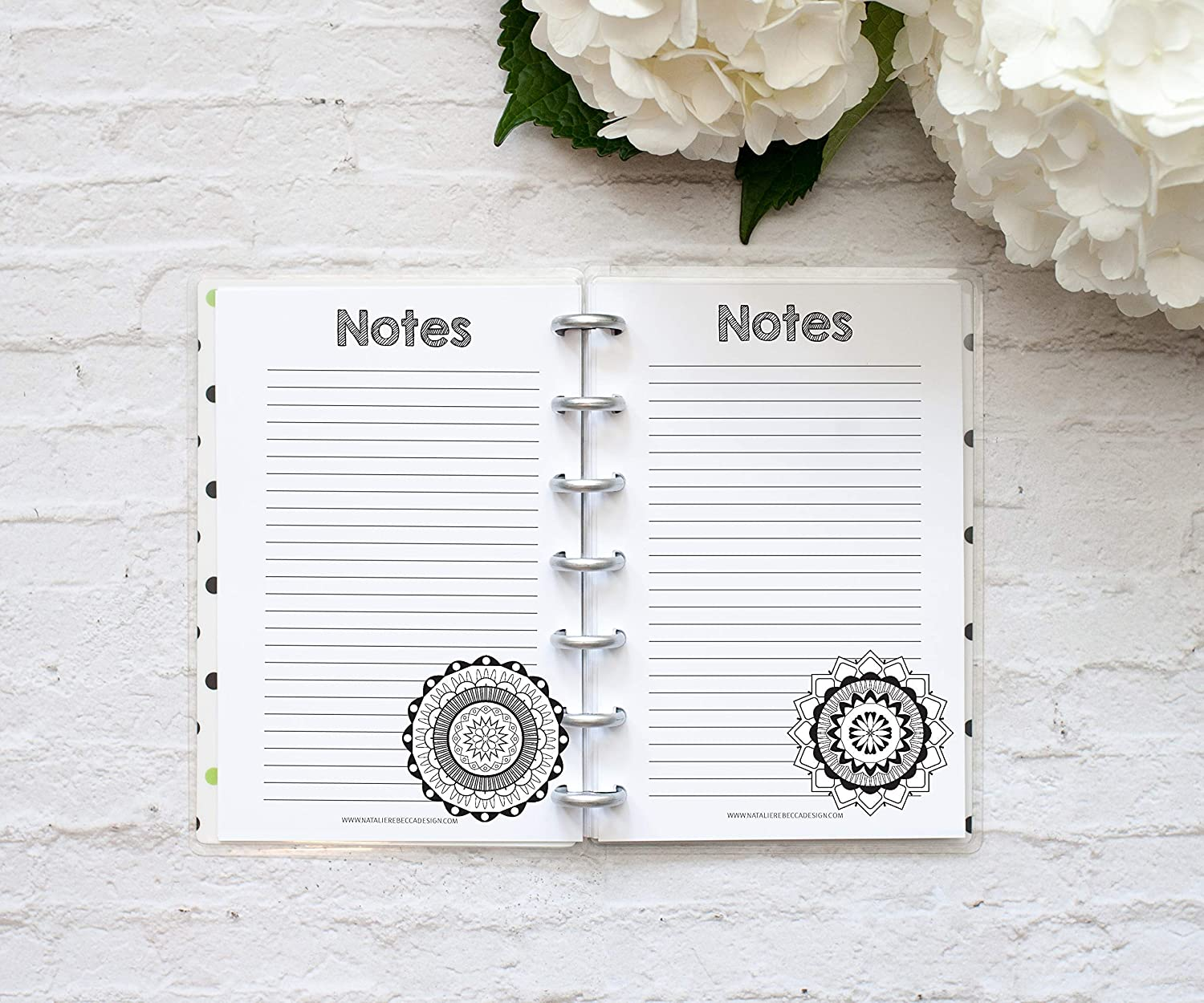 """Coloring Pages for Mini Happy Planner Notebook, Fits 7-Disc Notebooks, Mandala, 4.6""""x7"""" (Notebook Not Included)"""