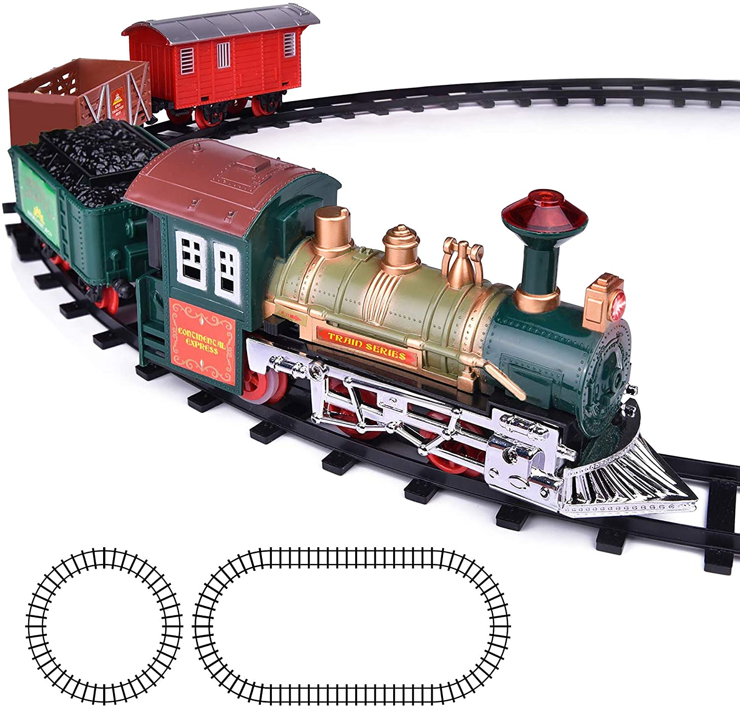 Amazon Com Artcreativity Deluxe Train Set For Kids Battery Operated Toy With 4 Cars And Tracks Durable Plastic Cute Christmas Holiday Train For Under The Tree Great Gift Idea For Boys