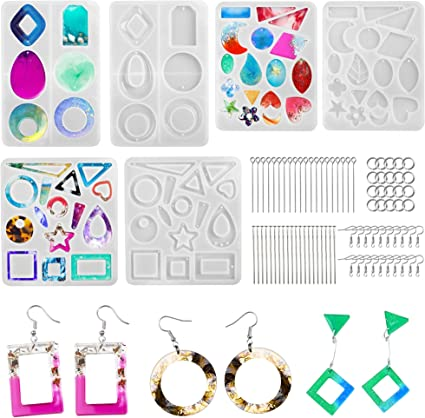 Resin Molds for Jewelry 20 Pcs Silicone Resin Earring Jewelry Casting Molds with Keychain Rings for DIY Craft Jewelry Making