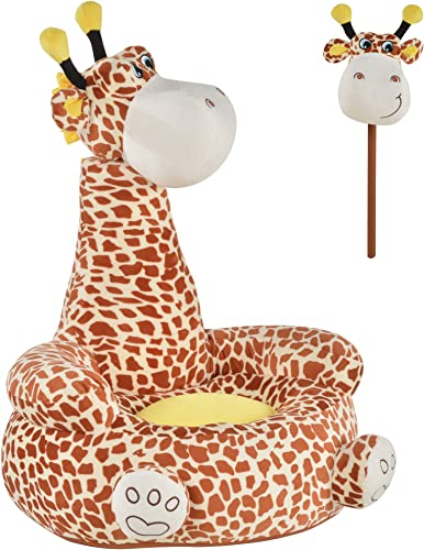 Qaba Giraffe Shaped Kid Sofa Flannel Covered Armchair Stick Horse Child Chair