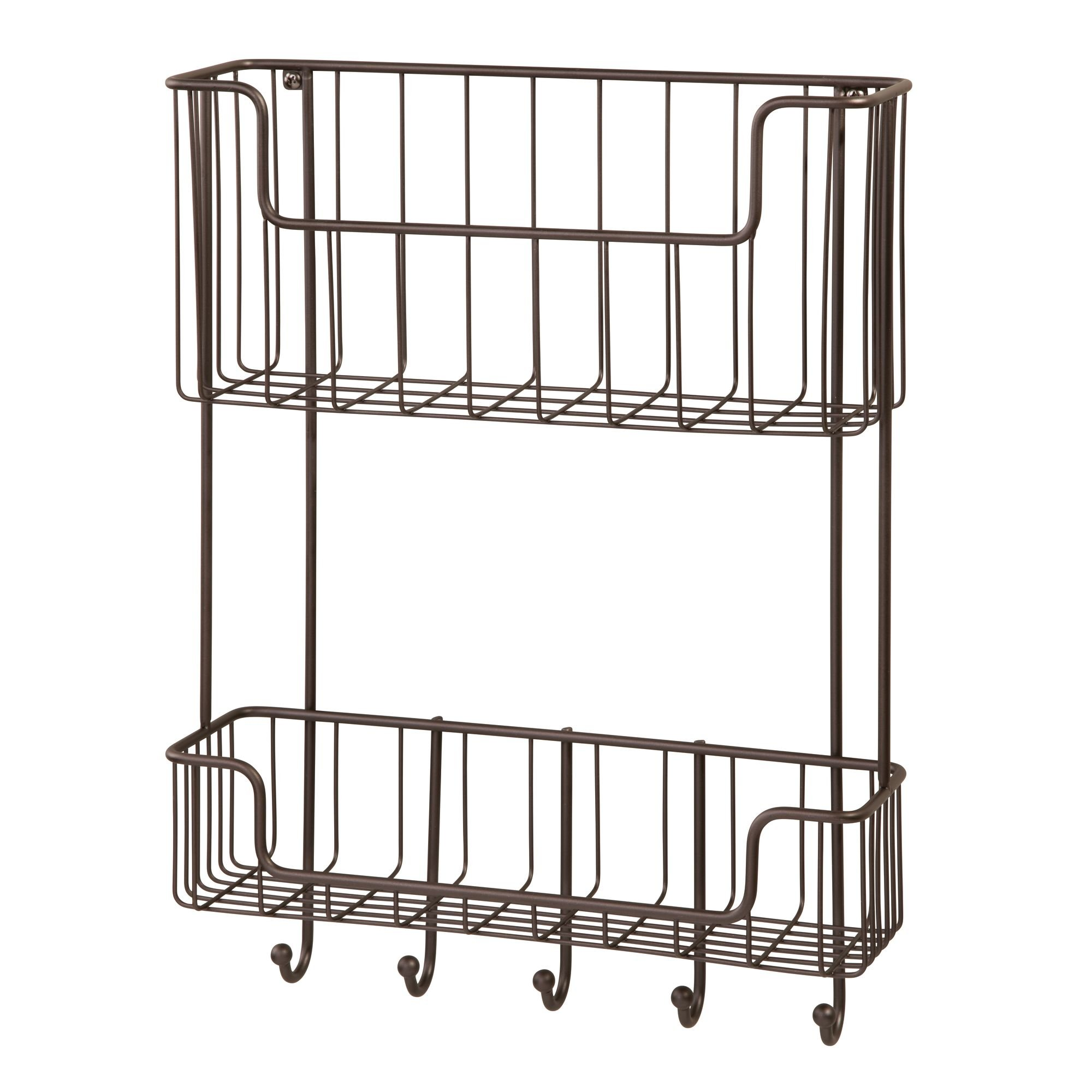 mDesign Wall Mount 2-Tier Mail, Letter, Magazine Holder, Key Rack, and Accessory Organizer for Entryway, Hallway, Mudroom – Strong Steel Wire Design, Bronze by mDesign (Image #5)