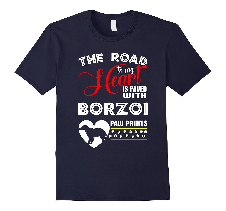 Borzoi Paw Prints Dog T-Shirt-Art