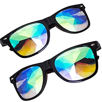 fada2146f DODOING Fashion Edge Cut Eye Kaleidoscope Sunglasses Men Women Designer  Eyewear Kaleidoscope Glasses Colorful Lens Catwalk