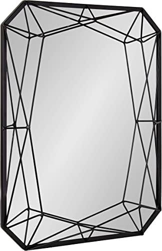 Kate and Laurel Keyleigh Modern Glam Geometric Shaped Metal Accent Wall Mirror, Black