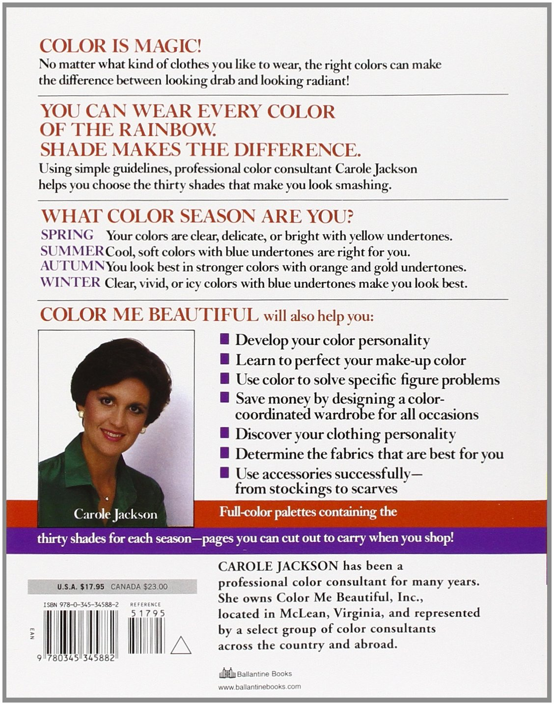Color me beautiful discover your natural beauty through the colors color me beautiful discover your natural beauty through the colors that make you look great and feel fabulous carole jackson 8601420148499 amazon fandeluxe Choice Image