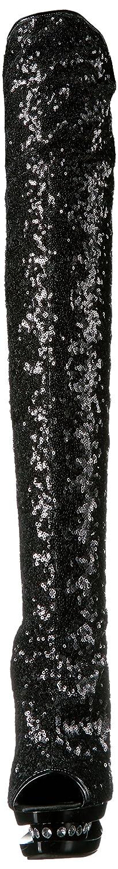 Pleaser Women's Bl-r3011/Bsq/M Boot B00B472AKQ 7 B(M) US Black Sequins/Black