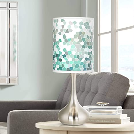 Miraculous Modern Accent Table Lamp Brushed Steel Droplet Aqua Mosaic Print Cylinder Shade For Living Room Family Bedroom Office Interior Design Ideas Clesiryabchikinfo