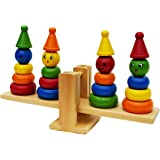 Toys of Wood Oxford Wooden Clown Ring Stacker and Balance Set