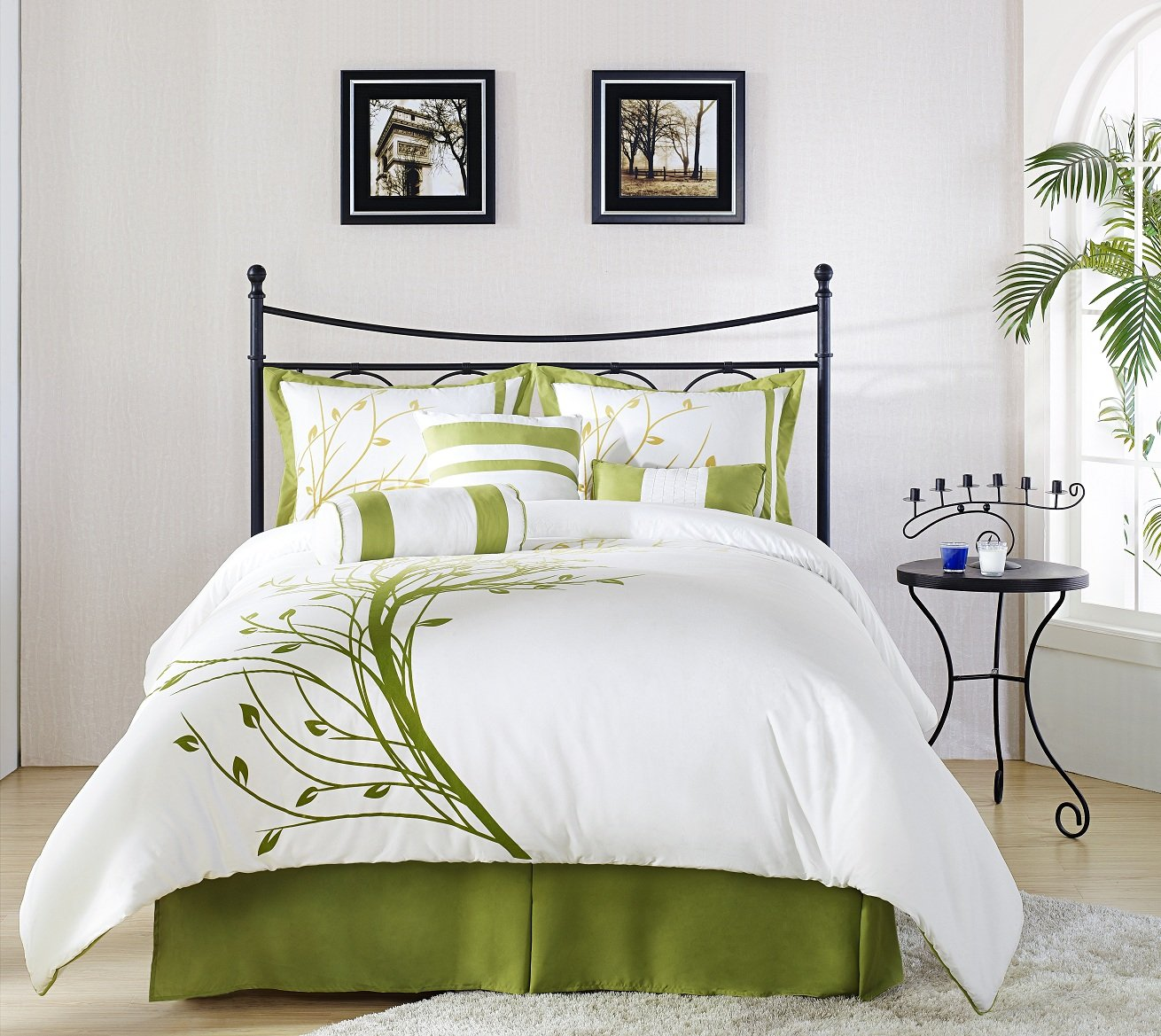 dp or queen white green kitchen home comforter chezmoi com collection set psdc for double tree full amazon piece ref