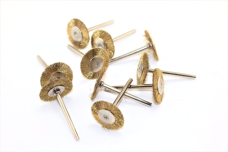 TEMO de 10 piezas de lató n Rotary 3/4 pulgadas (19 mm) PLANO rueda de cepillo de alambre # 535 con 1/8 de pulgada (3 mm) de espiga en forma de Dremel o compatible Herramientas rotativas Golden Coulee UK