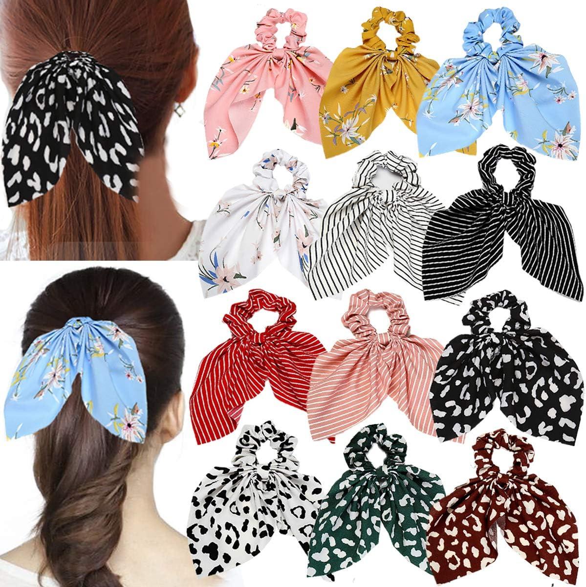 12 Uds, Coleteros elásticos para el cabello de gasa, coleteros con flores, bandas para el cabello, accesorios para el cabello para mujeres y niñas