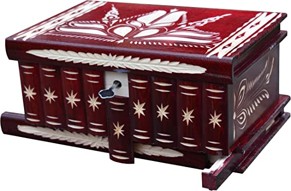 TransylvanyArt Joyero de Madera con Compartimento Secreto, Espejo, Cerradura, Llave, Cofre del Tesoro, Caja de Madera Tallada, único: Amazon.es: Hogar