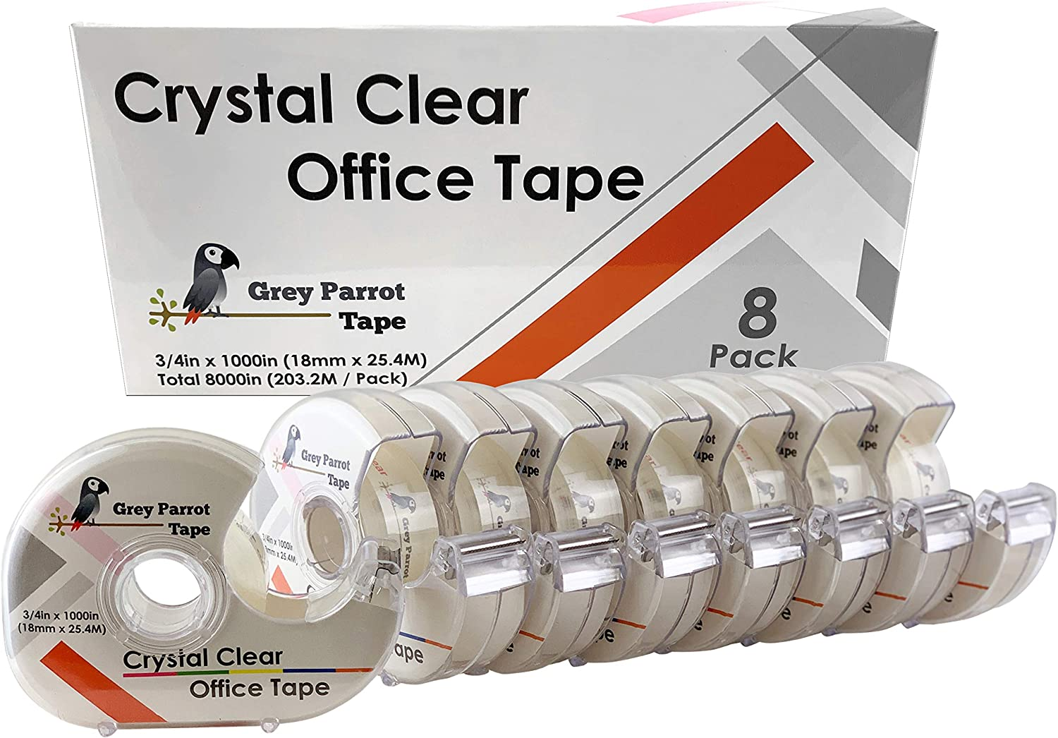 """Greyparrot Office Tape Clear Refill Rolls + Dispenser(8 Pack),(3/4"""" X 1000in/pack). for Craft Jobs, Gift Wrapping, Office Work Clear(Transparent) Glossy Finish, Refillable"""