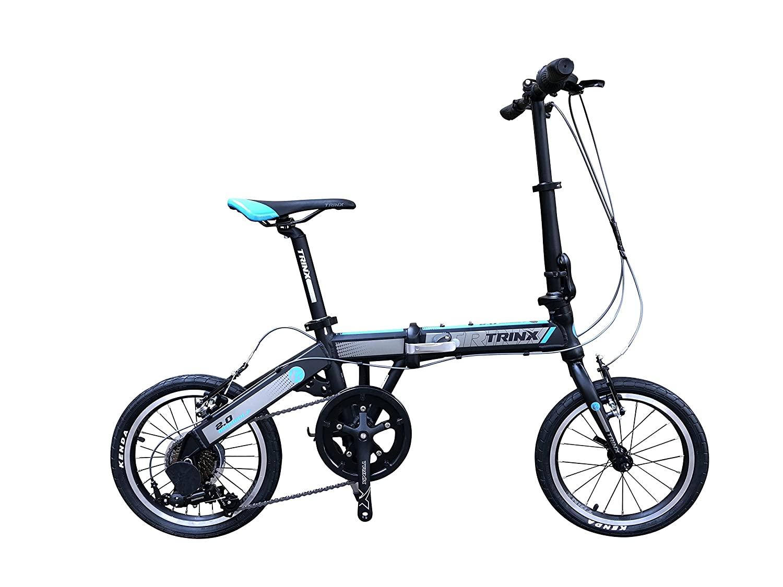 TRINX(トリンクス) 【折り畳み式自転車】超コンパクト 16インチ 軽量アルミ 10.8㎏ スポーツモデル Shimano7Speed 軽量コンパクトで持ち運びに便利!WARWOLF2.0 ブラック/ブルー 16インチ B07B45386M