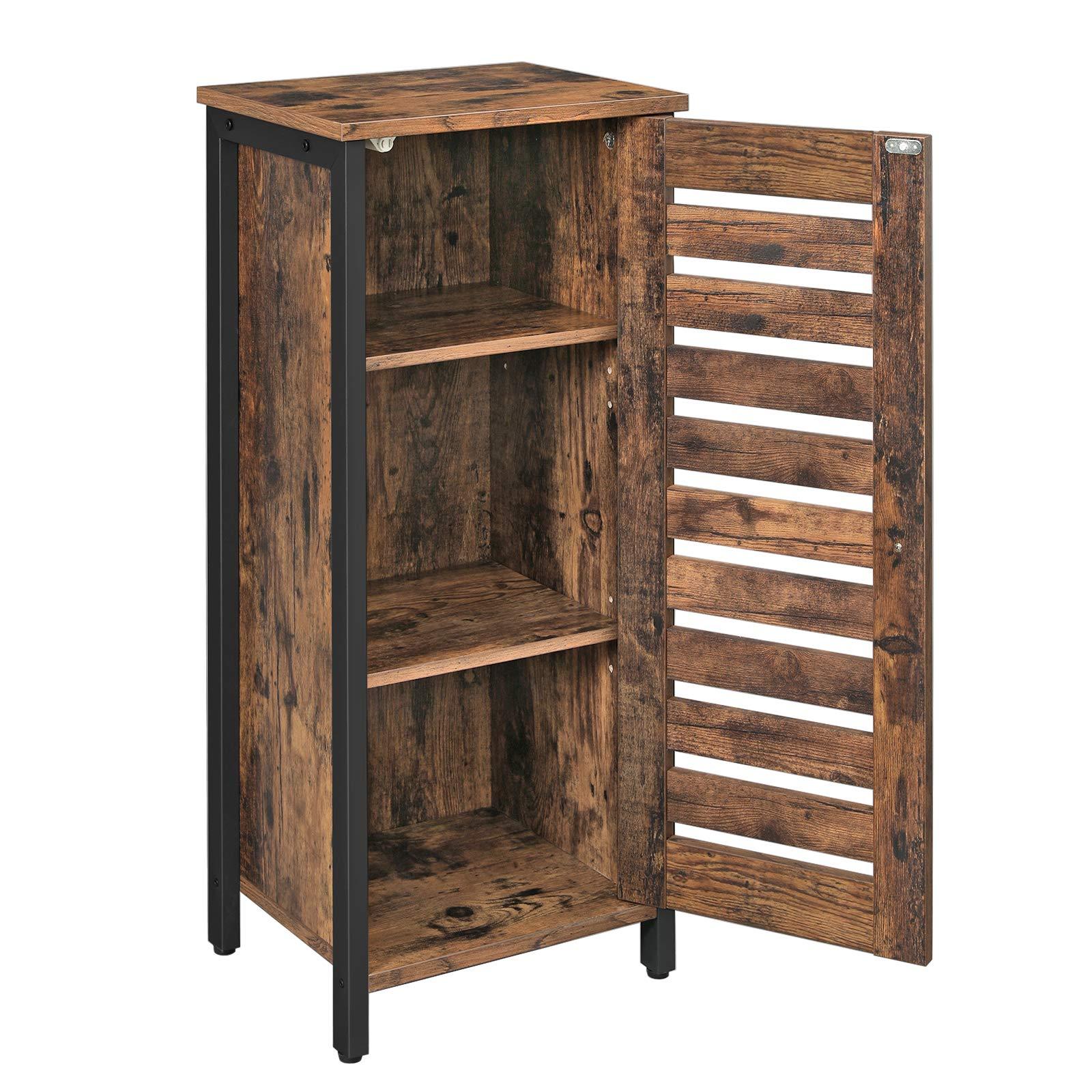 VASAGLE Side Cabinet, Floor Cabinet with 2 Shelves, Freestanding Kitchen Storage Cabinet, Louvered Door, for Living Room, Hallway, Office, Bedroom, Rustic Brown LSC35BX