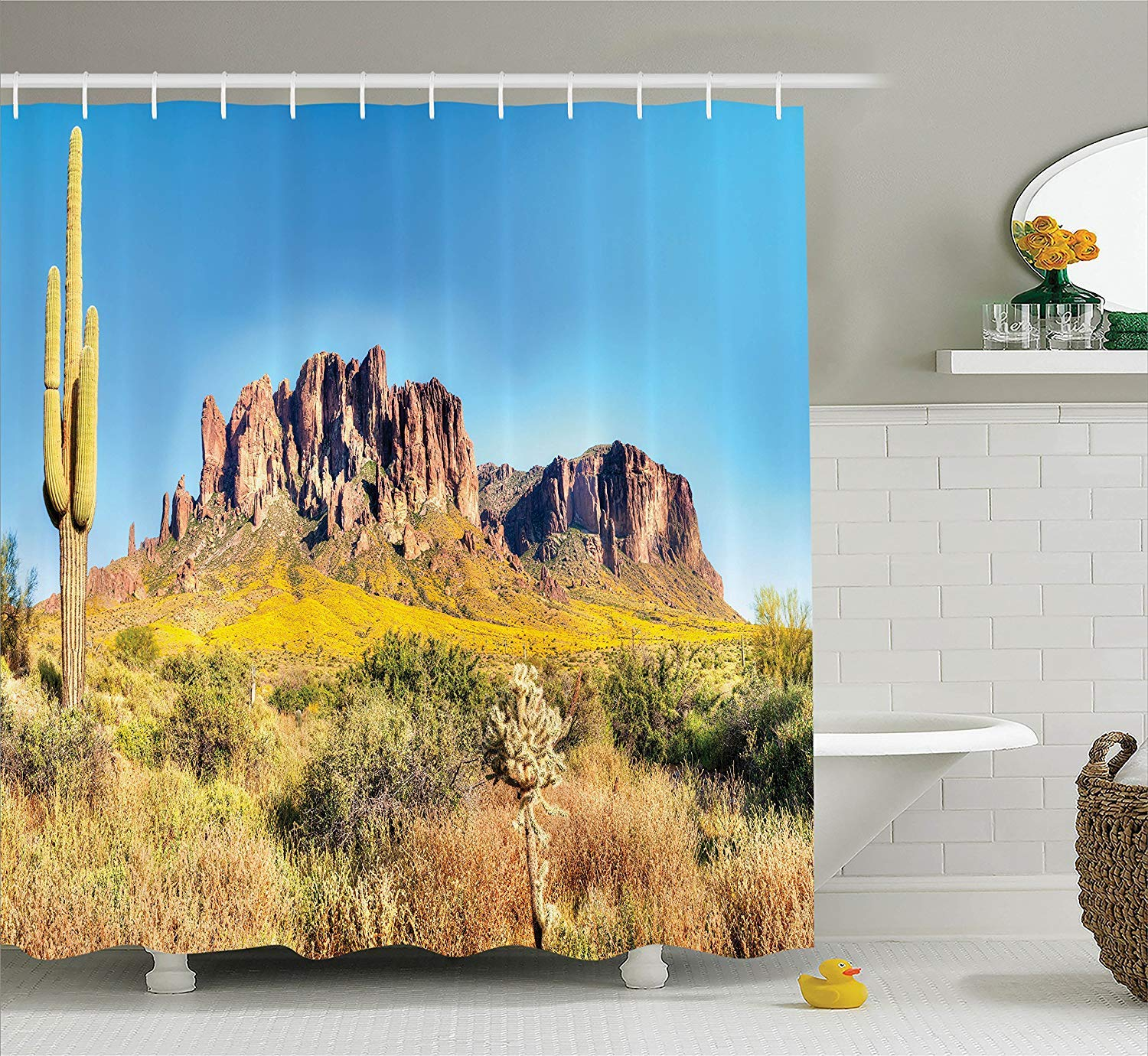 Custom Made Saguaro Cactus Decor Shower Curtain Set, Blooming Brittlebush Superstition Wilderness by The Mountain Phoenix View, Bathroom Curtain Home Decorations Machine Washable, 72 x 84 Inches