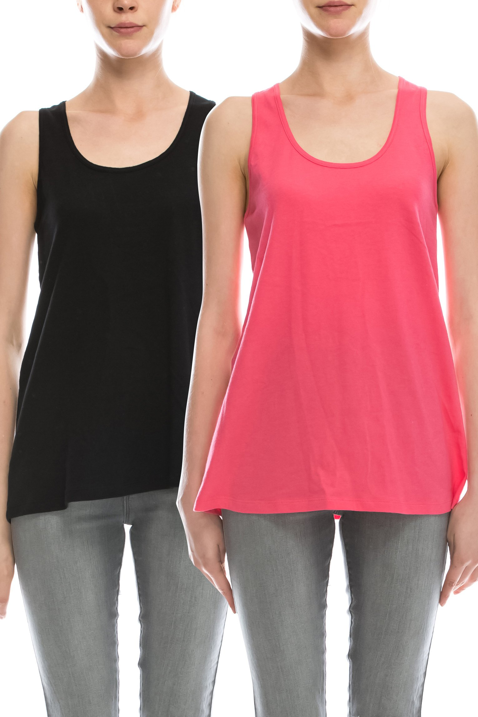 Loose Fit Relaxed Flowy Knit Tank Top: workout jersey sexy cheap pack Black/Coral XL